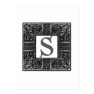 "Silbernes Monogramm des Celtic-""S"" Postkarte"