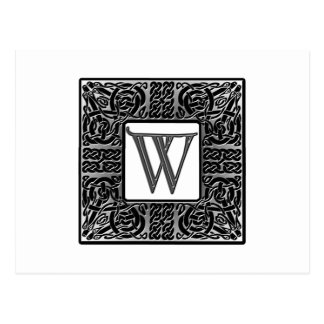 "Silbernes Monogramm des Celtic-""W"" Postkarte"