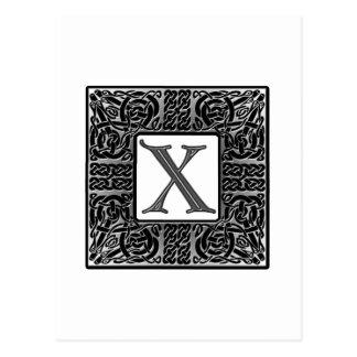 "Silbernes Monogramm des Celtic-""X"" Postkarte"