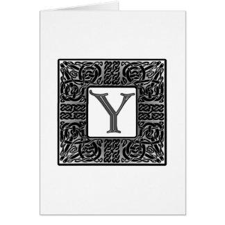 """Silbernes Monogramm des Celtic-""""Y"""" Karte"""