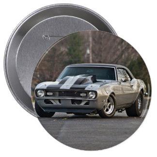 Silbernes Muskelauto Runder Button 10,2 Cm