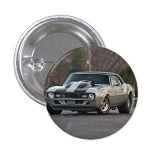 Silbernes Muskelauto Runder Button 2,5 Cm
