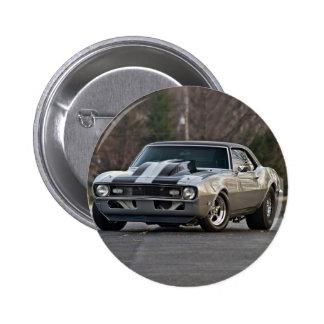 Silbernes Muskelauto Runder Button 5,7 Cm