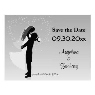 Silbernes Ombre Save the Date, das Postkarte