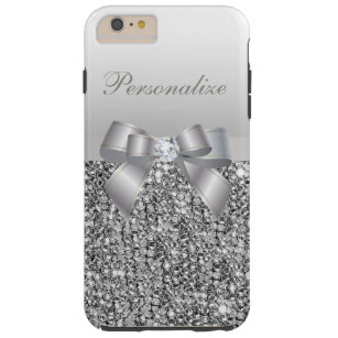 Silbernes Paillette-, Bogen-u. Diamant-Druckbild Tough iPhone 6 Plus Hülle