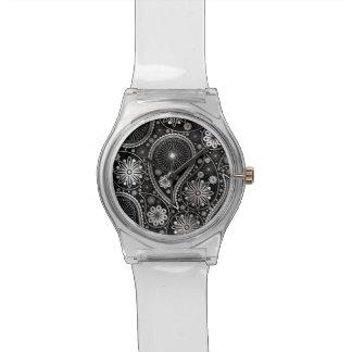 Silbernes Paisley-Muster Armbanduhr