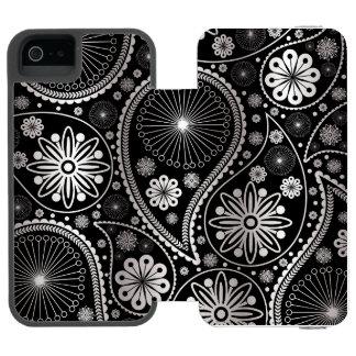 Silbernes Paisley-Muster Incipio Watson™ iPhone 5 Geldbörsen Hülle