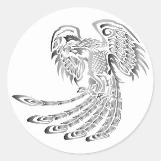 Silbernes Phoenix-Steigen Runder Aufkleber
