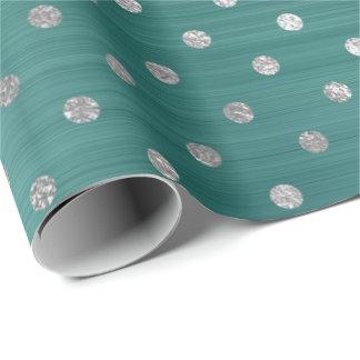 Silbernes Polka-Punkt-aquamarines tropisches Geschenkpapier