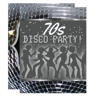 Silbernes Retro Party 70er des Karte