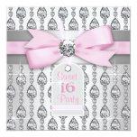Silbernes rosa Diamant-Rosa u. grauer Geburtstag Personalisierte Ankündigungskarte