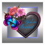 Silbernes rosa lila Schmetterlings-Party Individuelle Ankündigungskarte