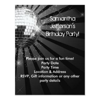 Silbernes Schein-Disco-Ball-Party 10,8 X 14 Cm Einladungskarte