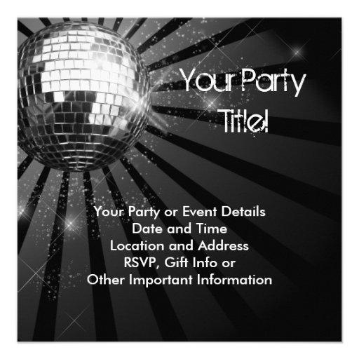Silbernes Schein-Disco-Ball-Party Individuelle Einladungskarte