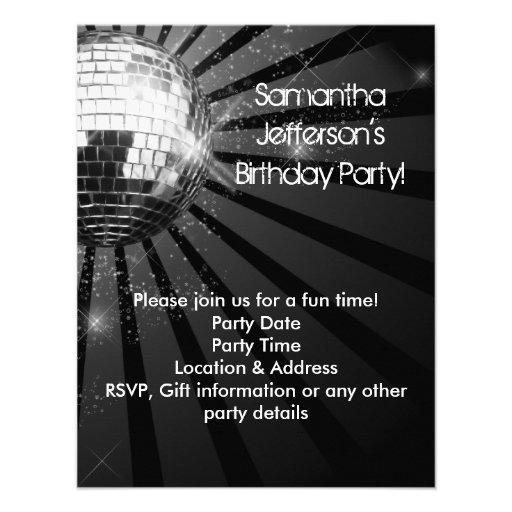 Silbernes Schein-Disco-Ball-Party Individuelle Einladung