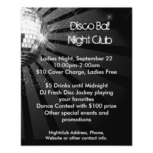 Silbernes Schein-Disco-Ball-Party Flyer