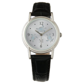 Silbernes Schildkröte-Monogramm Uhr