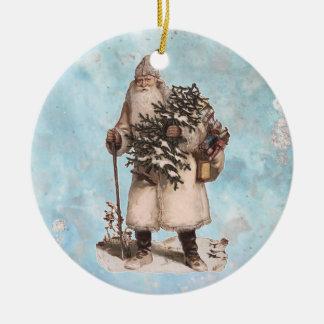 Silbernes Schnee-Fallen Vintages Keramik Ornament