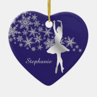 Silbernes Schneeflocke-Ballerina-Blau Keramik Herz-Ornament