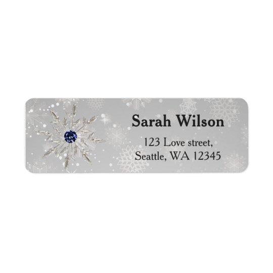silbernes Schneeflocke-Brautparty-Adressen-Etikett Rückversand-Adressaufkleber