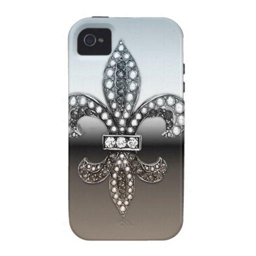 Silbernes Schwarzes Lilien-Flor New Orleans Case-Mate iPhone 4 Case