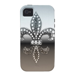 Silbernes Schwarzes Lilien-Flor New Orleans iPhone 4/4S Cover