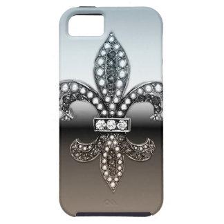 Silbernes Schwarzes Lilien-Flor New Orleans iPhone 5 Schutzhüllen