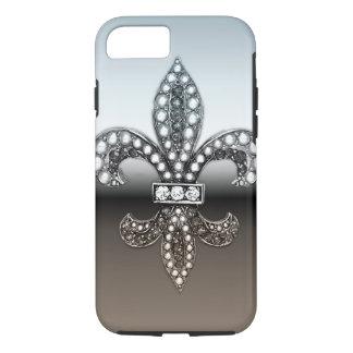 Silbernes Schwarzes Lilien-Flor New Orleans iPhone 8/7 Hülle