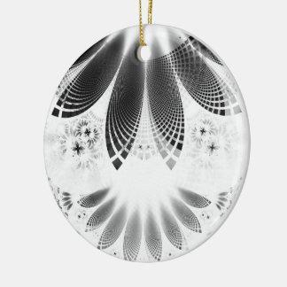 Silbernes Shikoba, schöne BnW Fraktal-Federn Keramik Ornament