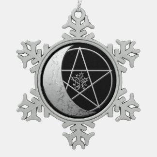 Silbernes sichelförmiges Mond-u. Schneeflocken Zinn-Ornament
