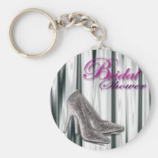 Silbernes Stilleto modernes Brautparty Standard Runder Schlüsselanhänger