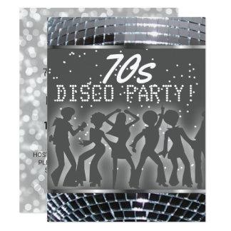Silbernes Thema-Party Siebzigerjahre des Karte