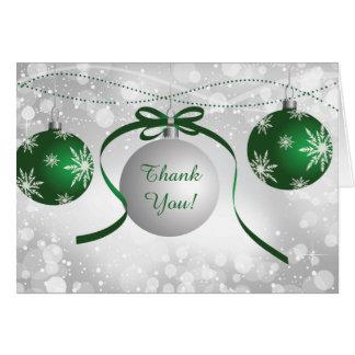 Silbernes u. grünes Verzierungen Bokeh Weihnachten Karte