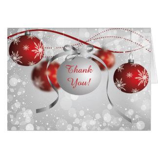 Silbernes u. Rot-Verzierungen Bokeh Weihnachten Karte