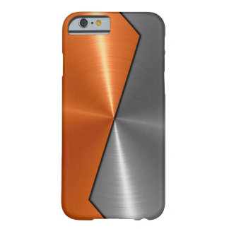 Silbernes und orange Edelstahl-Metall 5 Barely There iPhone 6 Hülle