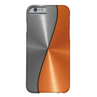 Silbernes und orange Edelstahl-Metall Barely There iPhone 6 Hülle