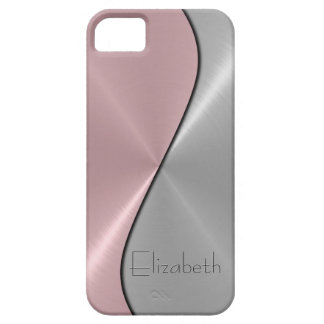 Silbernes und rosa Edelstahl-Metall iPhone 5 Cover