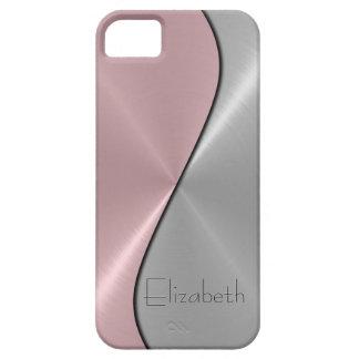 Silbernes und rosa Edelstahl-Metall iPhone 5 Case