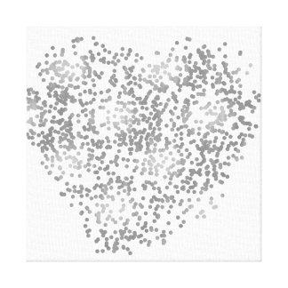 Silbernes und weißes Confetti-Herz Leinwanddruck