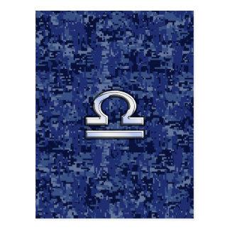 Silbernes Waage-Tierkreis-Zeichen auf blauer Postkarte