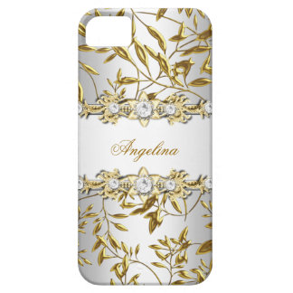 Silbernes weißes Imitat-Golddiamant-Juwel-Bild Schutzhülle Fürs iPhone 5