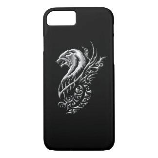 Silbernes Wolf-Schwarzes iPhone 8/7 Hülle