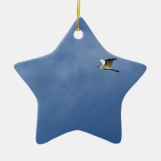 Silberreiher Keramik Stern-Ornament