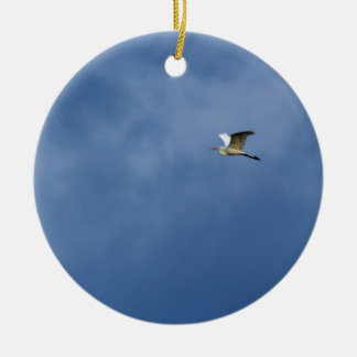 Silberreiher Rundes Keramik Ornament