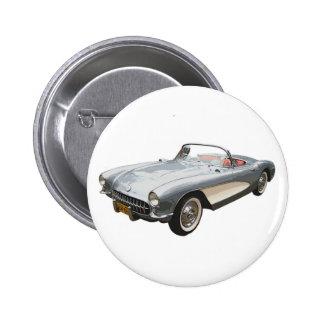 Silbriger Blau Korvette-Knopf 1959 Runder Button 5,7 Cm