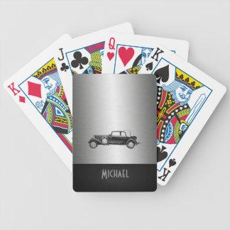 Silbriges Schwarzes des coolen Autos des Chic Bicycle Spielkarten