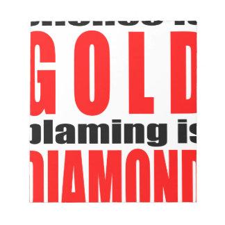 SILENCEISGOLD blamingisdiamond Ruhe-Goldpaare Notizblock