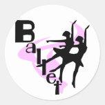 Silhouette-Ballett-T - Shirts und Geschenke Runder Aufkleber