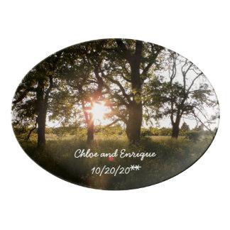 Silhouette-Bäume und Porzellan Servierplatte