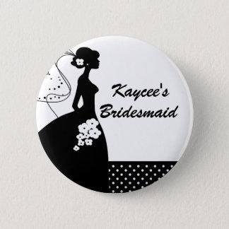 Silhouette-Braut-Brautparty-Brautjungfern-Knopf Runder Button 5,1 Cm